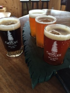 Enjoying some samples at Big Spruce's tasting room.