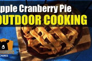 Baking a Apple Cranberry Pie Outdoors in A Cast Iron Dutch Oven