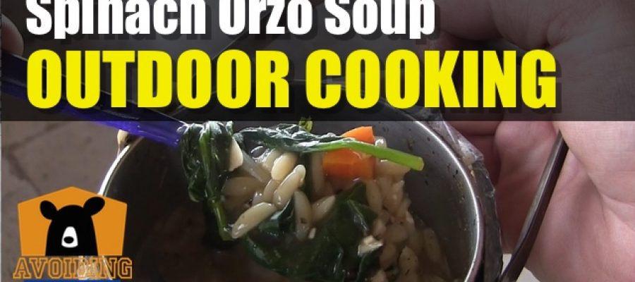 Backpacking Meal Spinach Orzo Soup Using Firebox Stove and Zebra Pot