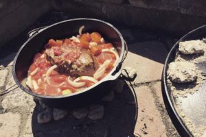 Cooking Yankee Pot Roast Outdoors in A Dutch Oven